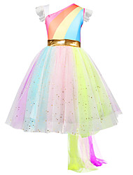 cheap -Princess / A-Line Midi Birthday Tulle Short Sleeve One Shoulder with Splicing