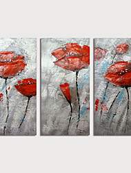 cheap -Oil Painting Hand Painted Vertical Abstract Floral / Botanical Modern Stretched Canvas / Three Panels
