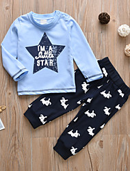 cheap -Baby Boys' Casual / Active Print Print Long Sleeve Regular Cotton Clothing Set Blue / Toddler
