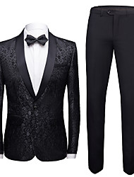 cheap -Tuxedos Standard Fit Shawl Collar Single Breasted One-button Polyester Flocking