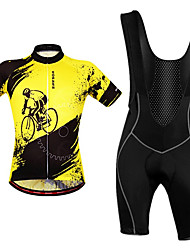cheap -WOSAWE Men's Cycling Jersey with Bib Shorts Black / Yellow Bike Bib Shorts Jersey Clothing Suit Breathable Moisture Wicking Reflective Strips Back Pocket Sports Polyester Painting Mountain Bike MTB