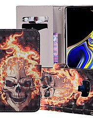 cheap -Case For Samsung Galaxy Note 9 Wallet / Card Holder / with Stand Full Body Cases Skull Hard PU Leather