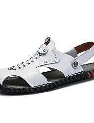 cheap -Men's Comfort Shoes Cowhide Fall / Spring & Summer Vintage / Casual Sandals Breathable Black / Brown / White / Outdoor