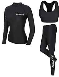 cheap -LUCKYFISH Women's Rash Guard Dive Skin Suit Diving Suit UV Sun Protection Quick Dry Long Sleeve Front Zip 3-Piece - Swimming Diving Painting Autumn / Fall Spring Summer / High Elasticity
