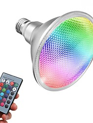 cheap -1PC 15W E26/E27 LED RGB Spotlight PAR38 Waterproof Lamp 1300-1450lm 110V 220V Remote Control for Indoor Outdoor Lighting