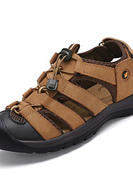 cheap -Men's Comfort Shoes Cowhide Fall / Spring & Summer Sporty / Casual Sandals Breathable Brown / Outdoor