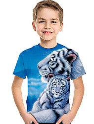 cheap -Kids Toddler Boys' Active Basic Tiger Print 3D Animal Print Short Sleeve Tee Light Blue