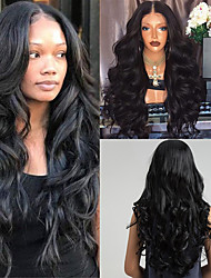 cheap -Synthetic Wig Body Wave Deep Wave Bob Asymmetrical Middle Part Wig Long Natural Black Synthetic Hair 26 inch Women's Synthetic Natural Hairline Middle Part Black HAIR CUBE / African American Wig