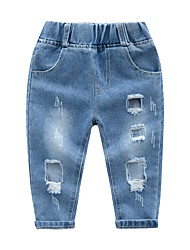 cheap -Kids Boys' Basic Street chic Solid Colored Cut Out Ripped Cotton Jeans Blue