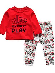 Недорогие -малыш Мальчики На каждый день / Активный С принтом С принтом Длинный рукав Обычный Хлопок Набор одежды Красный / Дети (1-4 лет)