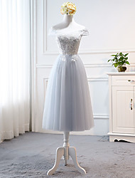 cheap -A-Line Off Shoulder Tea Length Tulle Bridesmaid Dress with Appliques