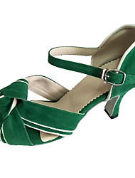 cheap -Women's Dance Shoes Leather Latin Shoes Heel Flared Heel Customizable Green