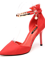 cheap -Women's Heels Stiletto Heel Pearl Synthetics Sweet / Minimalism Fall / Spring & Summer Black / Red / Party & Evening / Daily / Party & Evening