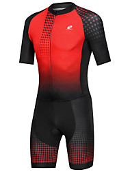 cheap -Nuckily Men's Short Sleeve Triathlon Tri Suit Black / Red Gradient Bike Breathable Sports Spandex Geometric Mountain Bike MTB Road Bike Cycling Clothing Apparel / Micro-elastic