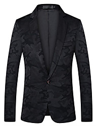 cheap -Patterned Slim Fit Polyester Suit - Notch Single Breasted One-button