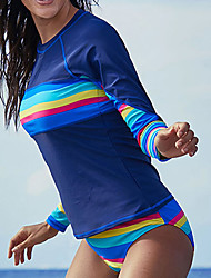 cheap -Delamon Women's Rashguard Swimsuit Elastane Swimwear Quick Dry Long Sleeve 2-Piece - Swimming Surfing Painting Autumn / Fall Spring Summer / Stretchy