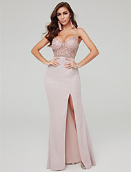 cheap -Sheath / Column Spaghetti Strap Floor Length Satin / Sequined Sexy / Elegant Formal Evening Dress 2020 with Beading / Sequin