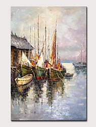 cheap -Mintura Large Size Hand Painted Abstract Wharf Landscape Oil Paintings On Canvas Modern Wall Art Picture For Home Decoration No Framed