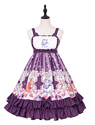 cheap -Patterned Cute Lolita Dress Cosplay Costume Halloween Props Party Costume All Japanese Cosplay Costumes Purple Cat Animal Bowknot Sleeveless Sleeveless Knee Length Medium Length
