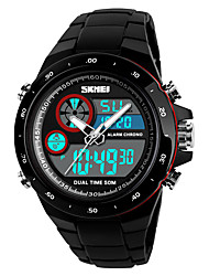 cheap -SKMEI Men's Digital Watch Digital Casual Water Resistant / Waterproof Analog - Digital Black Red Gold / Silicone / Calendar / date / day / Stopwatch / Noctilucent