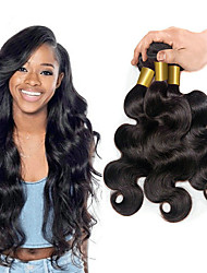 cheap -3 Bundles Brazilian Hair Body Wave Virgin Human Hair Natural Black Human Hair Weaves / Human Hair Extensions 8-28 inch 150g For Black Women / 8a / Shedding Free Natural Color Human Hair
