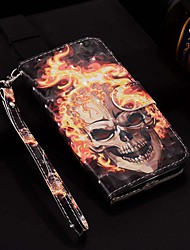 cheap -Case For Huawei P30 Pro / Huawei P30 Lite Pattern / Flip / with Stand Full Body Cases Laser 3D Flame Skull Hard PU Leather for Huawei P30 / P20 Pro /P20 Lite / P20 /P smart 2019 / P smart