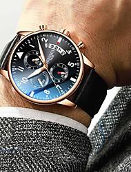 cheap -Men's Dress Watch Quartz Leather Black / Brown 30 m Chronograph Creative New Design Analog Casual Minimalist - Black / Blue Black / Silver Black / Rose Gold Two Years Battery Life