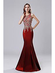 cheap -Mermaid / Trumpet Chinese Style Prom Formal Evening Dress Jewel Neck Sleeveless Floor Length Taffeta with Appliques 2020