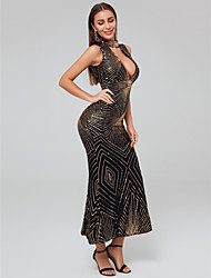 cheap -A-Line High Neck Ankle Length Sequined Sexy Formal Evening Dress 2020 with Sequin