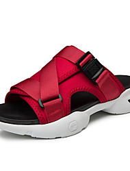 cheap -Men's Comfort Shoes Canvas Summer / Fall Classic / Vintage Slippers & Flip-Flops Breathable Color Block Black / Red