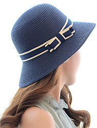 cheap -Women's Active Basic Cute Straw Straw Hat Sun Hat-Color Block Spring Summer Beige Navy Blue Khaki