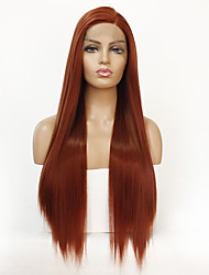 cheap -Synthetic Lace Front Wig Straight Straight Lace Front Wig Long Orange Synthetic Hair Women's Natural Hairline Orange