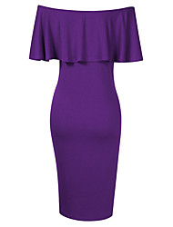 cheap -Women's Maternity Knee-length Sheath Dress - Sleeveless Solid Colored Basic Purple L