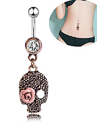 cheap -Navel Ring / Belly Piercing Trendy Women's Body Jewelry For Carnival Festival Cubic Zirconia Stainless Steel Skull Rose Gold 1pc