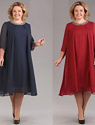 cheap -A-Line Jewel Neck Knee Length Chiffon Elegant / Minimalist Cocktail Party / Holiday Dress 2020 with Crystals