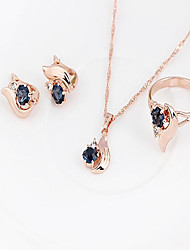 cheap -Women's Bridal Jewelry Sets Hollow Out Eyes Earrings Jewelry Gold For Wedding Party Three-piece Suit