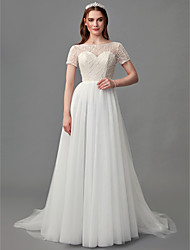cheap -A-Line Wedding Dresses Jewel Neck Sweep / Brush Train Lace Satin Tulle Short Sleeve 3/4 Length Sleeve Sexy with Lace Beading 2020