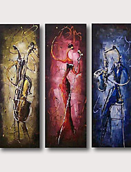 cheap -Oil Painting Hand Painted Abstract People Comtemporary Modern Stretched Canvas / Three Panels With Stretched Frame
