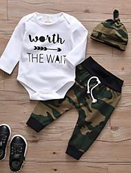 cheap -Baby Boys' Casual / Active Print Print Long Sleeve Regular Cotton Clothing Set White / Toddler