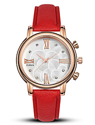 cheap -Women's Quartz Watches Flower Fashion Black White Red PU Leather Quartz White Red Black+White Casual Watch 1 pc Analog One Year Battery Life / Stainless Steel