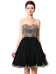 cheap -A-Line Sweetheart Neckline Short / Mini Tulle Open Back / Minimalist Cocktail Party / Homecoming Dress with Crystals / Criss Cross 2020