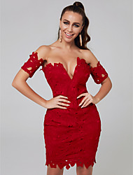 cheap -Sheath / Column Off Shoulder Short / Mini Lace Sexy Cocktail Party Dress 2020 with Lace Insert