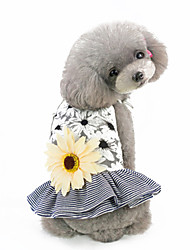 cheap -Dogs Dress Dog Clothes Black Pink Costume Fabric Flower Floral Ordinary XS S M L XL