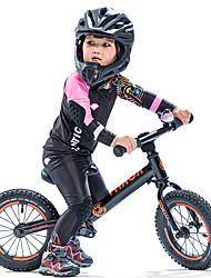 cheap -SANTIC Girls' Long Sleeve Cycling Jersey with Tights Black Cartoon Bike Padded Shorts / Chamois Clothing Suit UV Resistant Breathable Moisture Wicking Quick Dry Sports Polyester Spandex Silicone