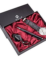 cheap -Men's Dress Watch Quartz Gift Set Leather Black / Brown 30 m Chronograph Creative Luminous Analog Classic Casual - Black Brown Black / White Two Years Battery Life