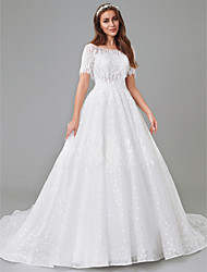 cheap -A-Line Wedding Dresses Bateau Neck Court Train Lace Satin Tulle Short Sleeve See-Through with Lace Insert Appliques 2021