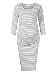 cheap -Women's Knee-length Maternity Wine Gray Dress Basic Sheath Striped S