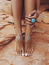 cheap -Barefoot Sandals Ankle Bracelet Vintage Classic European Women's Body Jewelry For Street Daily Layered Alloy Silver 1pc