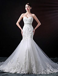 cheap -Mermaid / Trumpet Sweetheart Neckline Chapel Train Lace / Tulle Strapless Made-To-Measure Wedding Dresses with Beading / Appliques / Lace 2020