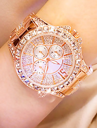 cheap -Women's Quartz Watches Quartz Stylish Pave Classic Water Resistant / Waterproof Analog Rose Gold Gold Silver / One Year / Stainless Steel / Imitation Diamond / Large Dial / One Year